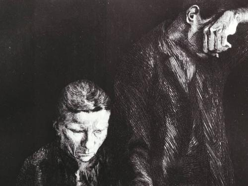 Detail from Käthe Kollwitz, Zertretene (The Downtrodden), 1900, Etching on wove paper, Gift of the Estate of Oskar Grunow, from the UAMA Collection