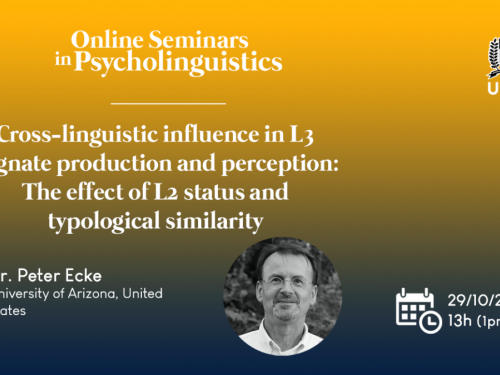 Announcement of Peter Ecke's talk on vocabulary acquisition, cognates and cross-linguistic influence