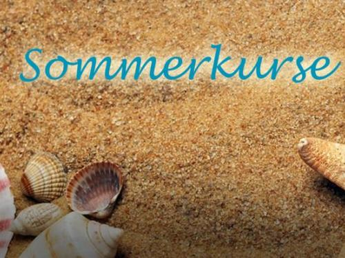 """Image of beach with shells, saying """"Sommerkurs"""" (summer courses)"""