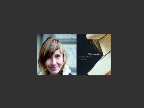 Image of Nika Pfeifer and the cover of her book Violante