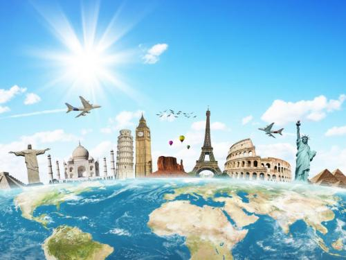 Stock picture of famous travel sites.