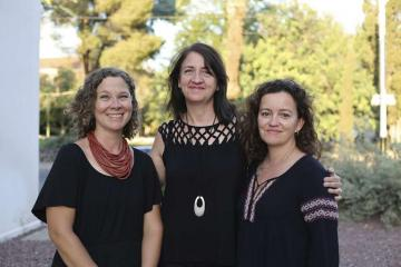 The Center for Educational Resources in Culture, Language and Literacy's core team: (from left to right) Co-Directors Chantelle Warner and Beatrice Dupuy, and Associate Director Kate Mackay (Photo: Michelle Doggett/College of Humanities)