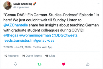 A tweet announcing the first podcast episode.